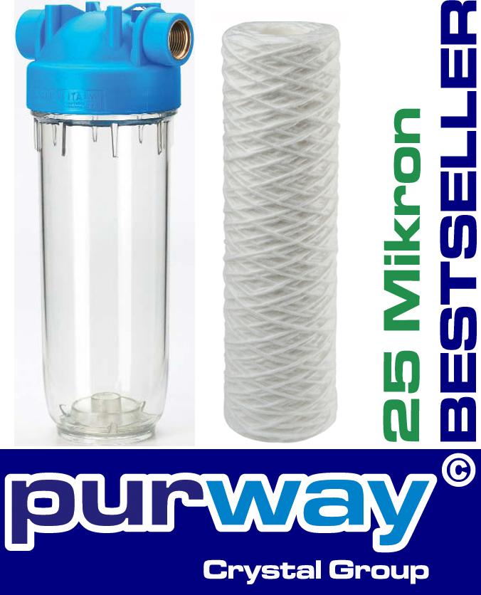 """DP1 PFA 25 mcr 5000L/h 3/4"""" Filtergehäuse mit Wasserfilter Trinkwasser Vorfilter"""