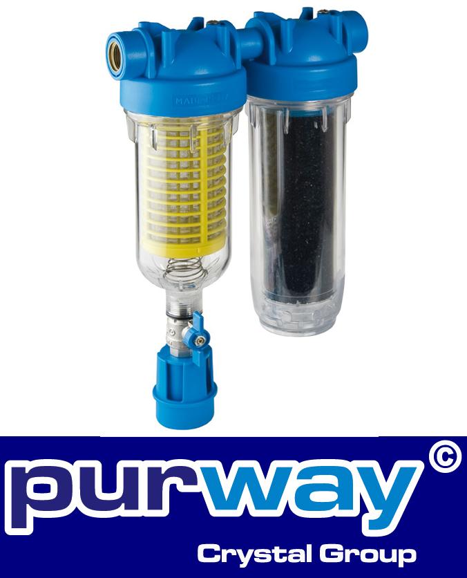 "HYDRA Rainmaster DUO RLH LA 1"" Zoll Wasserfiltergehäuse plus Filter"