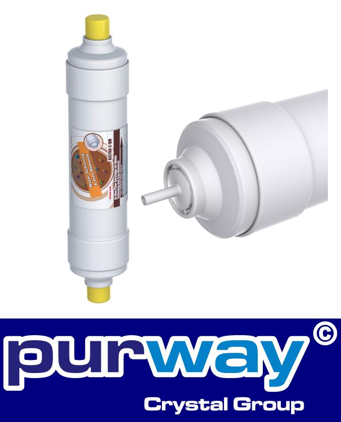 """AISTRO-2-QM 2,5"""" x 12"""" Inline Kartusche Wasserenthärtung Enteisenung 2 x 1/4"""""""