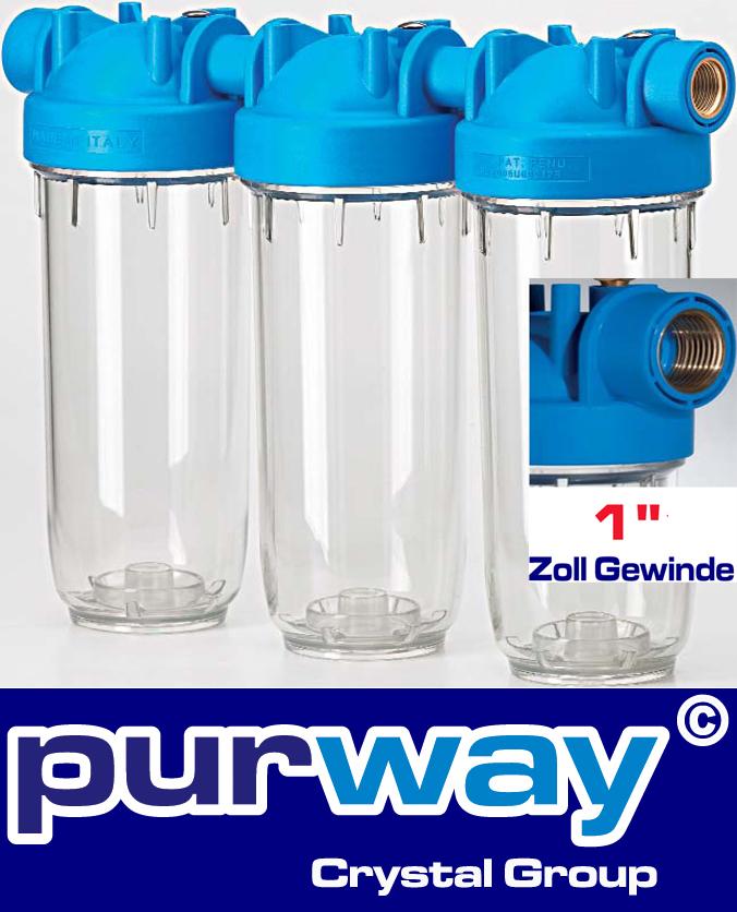 """DP 10 TRIO 1"""" OT TS DREIFACH Filtergehäuse Hauswasserfilter Trinkwasserfilter"""