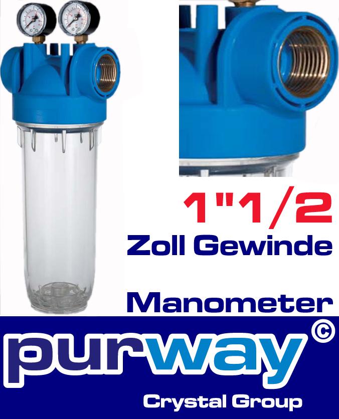 """DP M 10 MONO 1""""1/2 OT TS Filtergehäuse + Manometer Trinkwasserfilter Hauswasser"""