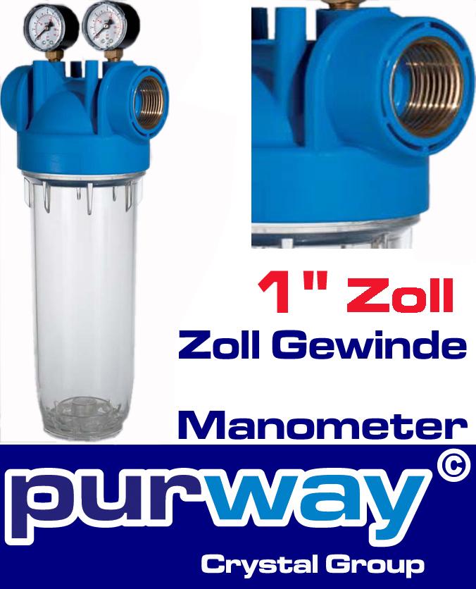"""DP M 10 MONO 1"""" OT TS Filtergehäuse mit Manometer Trinkwasserfilter Hauswasser"""