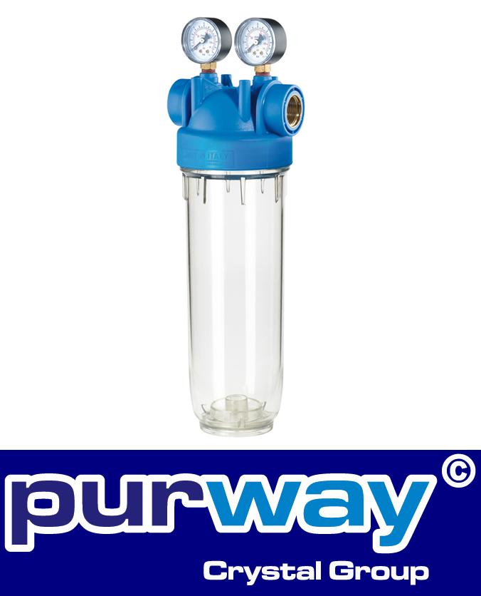 """DP M 10 MONO 3/4"""" OT TS Filtergehäuse + Manometer Trinkwasserfilter Hauswasser"""