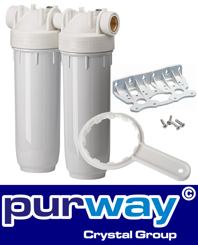 """DP 10 DUO 3/4"""" OT BW Set Doppelfiltergehäuse Trinkwasserfilter"""