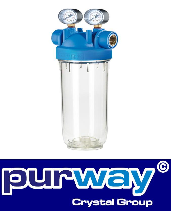 """DP M 5 MONO 1/2"""" OT TS Filtergehäuse + Manometer Trinkwasserfilter Hauswasser"""