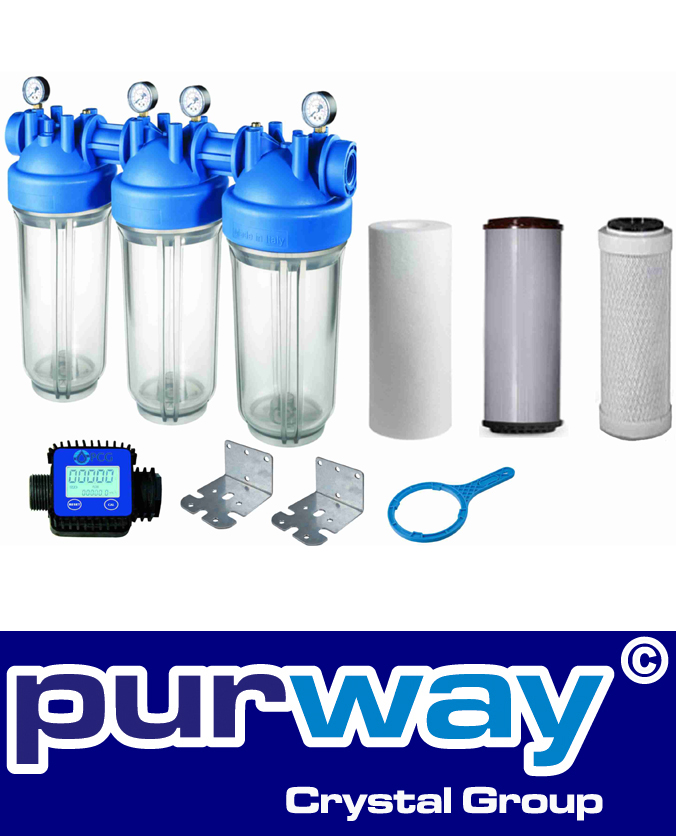 DP BIG 20 TRIO IRON SET Komplettfilter Eisenfilter Brunnenwasser incl.Flow Meter
