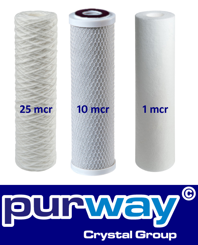 Osmose Filter 3er-Set 25-10-1 Mikron für 1. bis 3. Stufe Umkehrosmose