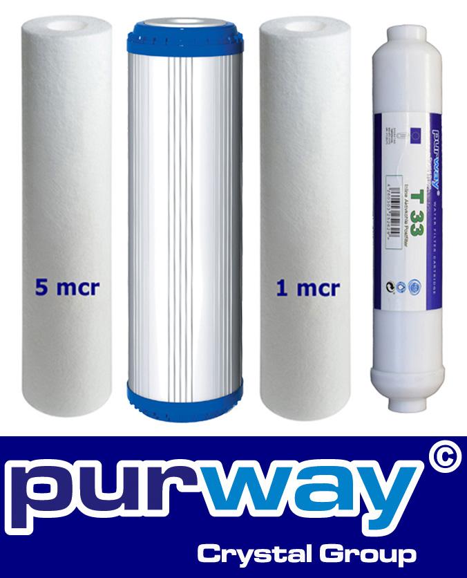 Osmose Filter 4er-Set 5-PLA-1-T33 für 1. bis 3. und 5. Stufe Umkehrosmose
