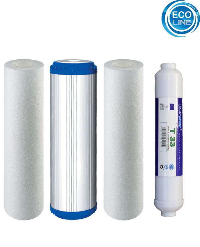 Ersatz Filter Osmose 4er Set 10-PLAX-1-T33 für 5 Stufen Umkehrosmoseanlage