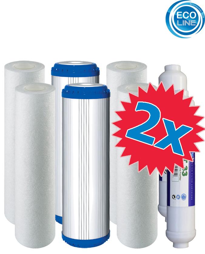 2x Ersatz Filter Osmose 4er Jahres Set 10-PLAX-1 für 5 Stufen Umkehrosmoseanlage
