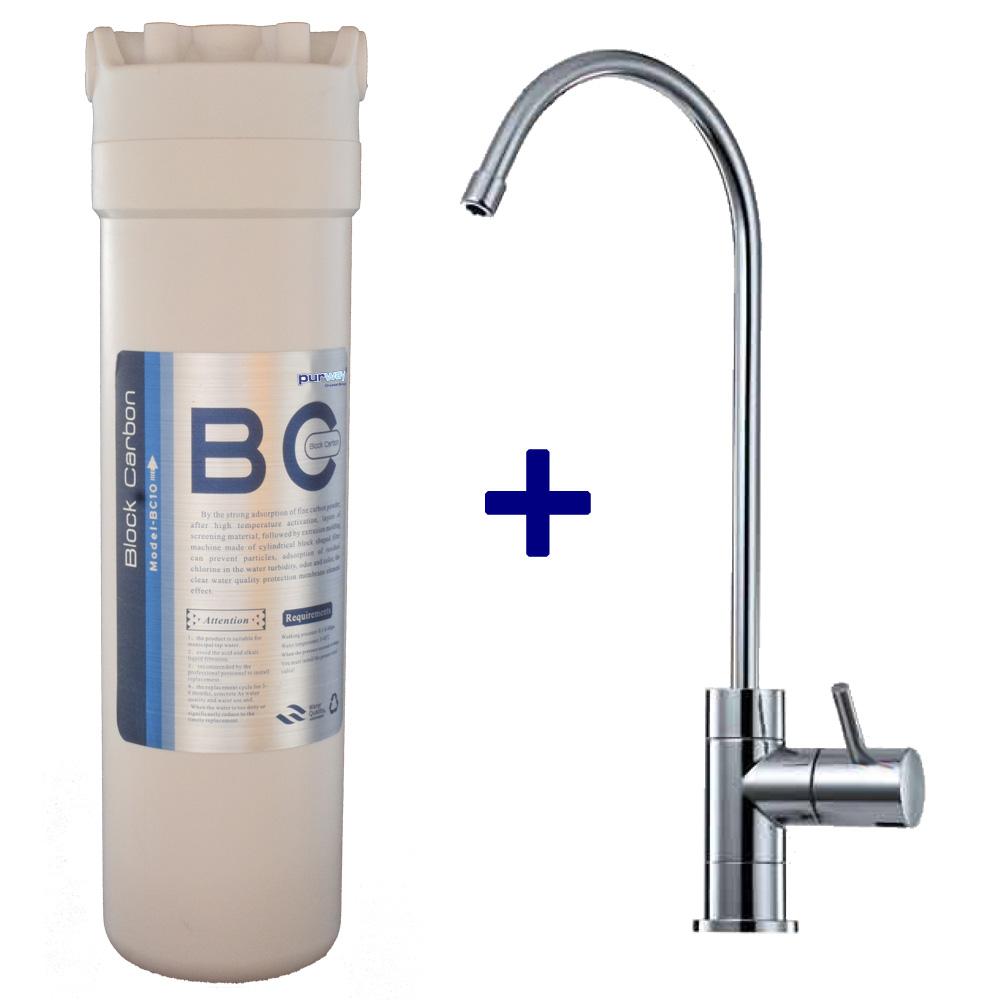 PCB QUICK 10mcr Carbon Block Aktivkohleblock Chlor und 1-Wege Wasserhahn