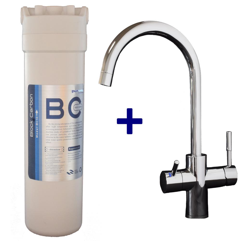PUR Smart BC 10mcr Carbon Block Aktivkohleblock Chlor und 3-Wege Wasserhahn