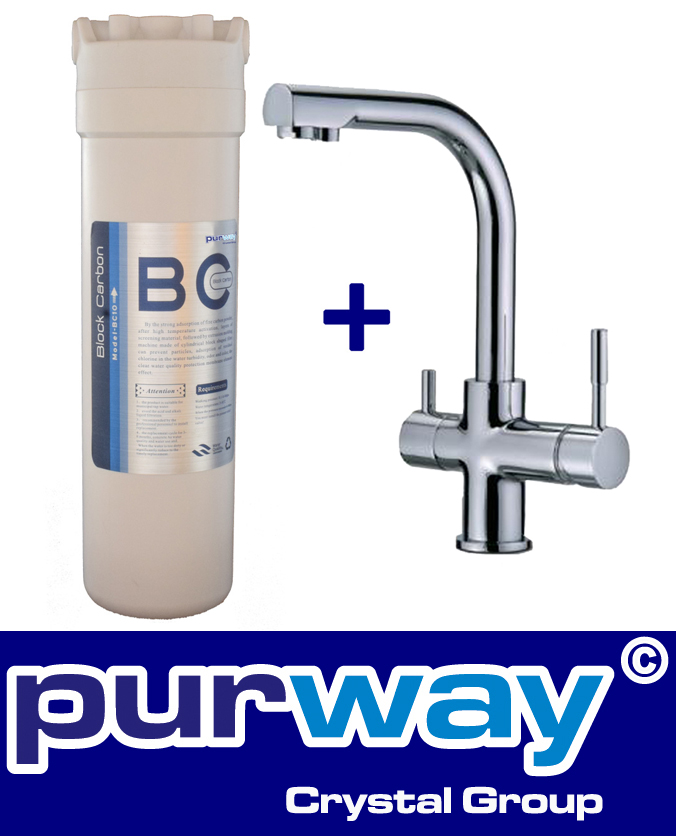 PUR Smart BC Set 10mcr Aktivkohleblock Chlor und 3-Wege Wasserhahn DELTA