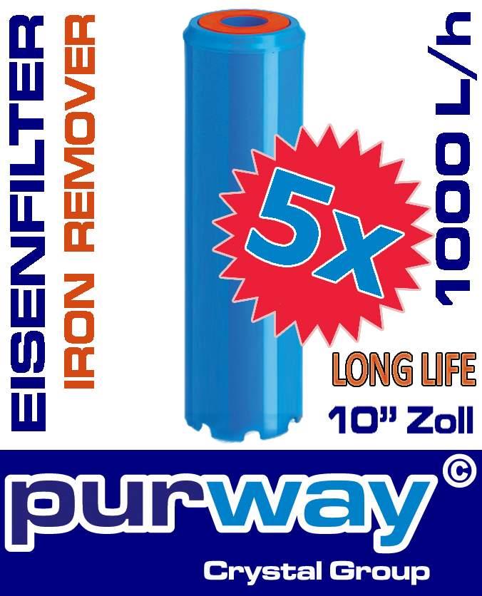 5 x PFEX IRON REMOVER STRONG Eisenfilter Eisenwasserfilter Enteisenung Filter