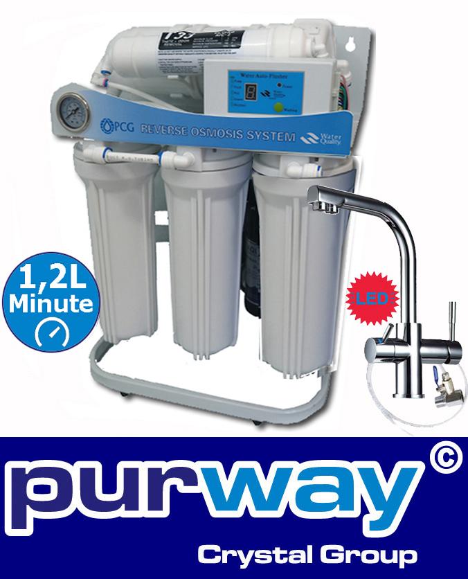 PUR Booster 5 Stufen tanklose Umkehrosmoseanlage + 3-Wege Wasserhahn DELTA