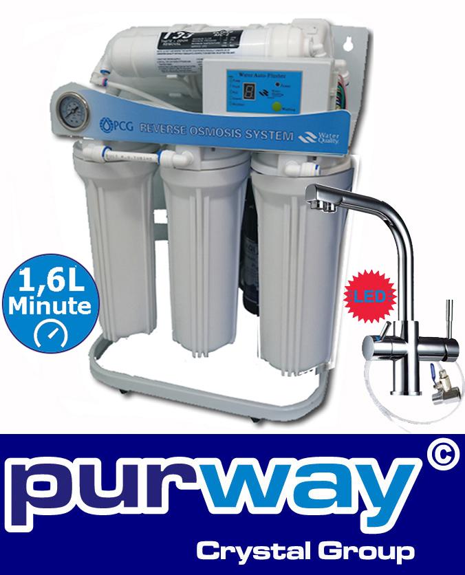 PUR Booster 5 Stufen 600 GPD Direct flow Umkehrosmose + 3-Wege Wasserhahn DELTA