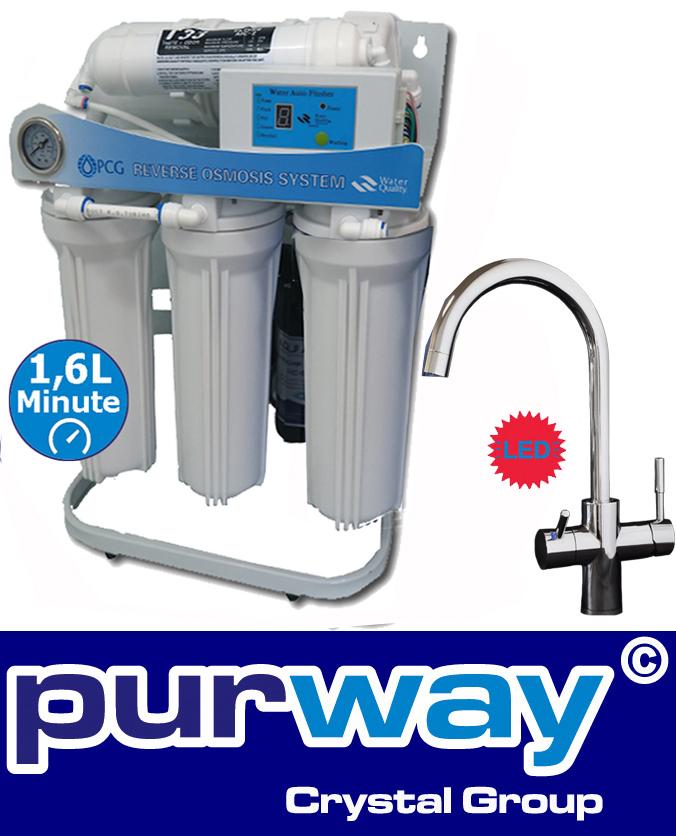 PUR Booster 5 Stufen 600 GPD Direct flow Umkehrosmoseanlage + 3-Wege Wasserhahn