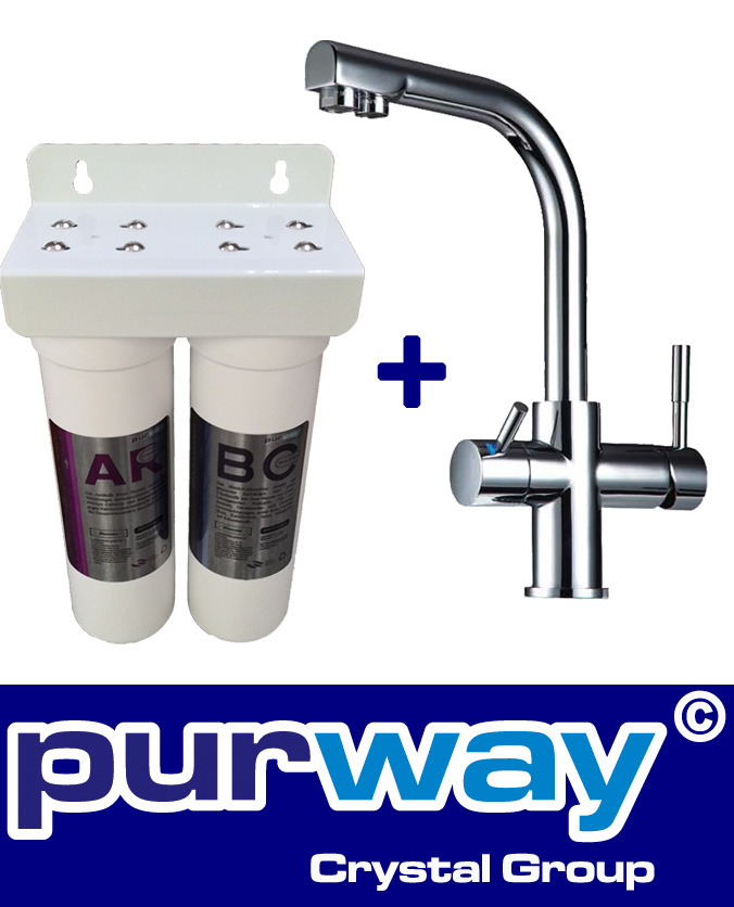 PUR Smart DUO Antikalk Set Wasserenthärtung Chlor + 3-Wege Wasserhahn DELTA